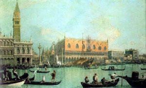 Canaletto, Veduta del Palazzo Ducale © Giovanni Badoer. Wikimedia.Commons (allgemeinfrei)
