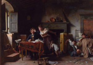 """""""Wenn die Freude im Haus stirbt""""; Gemälde von Pietro Saltini, 19. Jh., © Wikimedia.Commons (allgemeinfrei)"""