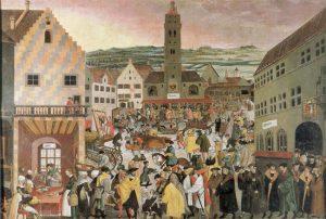 Perlachplatz Augsburg, Gemälde von Heinrich Vogtherr d. J. 1550 © Wikimedia.Commons (allgemeinfrei)