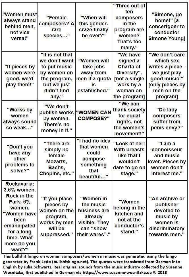 Female Composer's Bullshit Bingo © Susanne Wosnitzka 2018