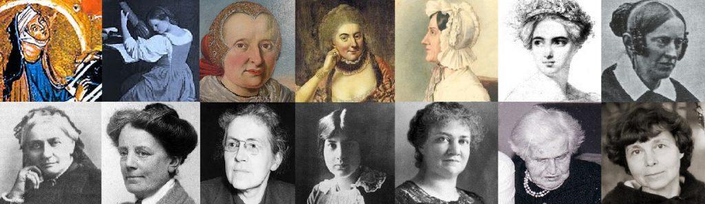 Frauenmusikgeschichte aus 13 Jahrhunderten © Susanne Wosnitzka. Einzelbilder Wikimedia.Commons (gemeinfrei)