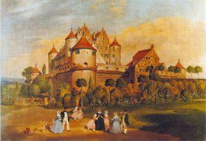 Schloss Erbach um 1844. Gemälde von Franz Xaver Müller © Wikimedia.Commons (gemeinfrei)
