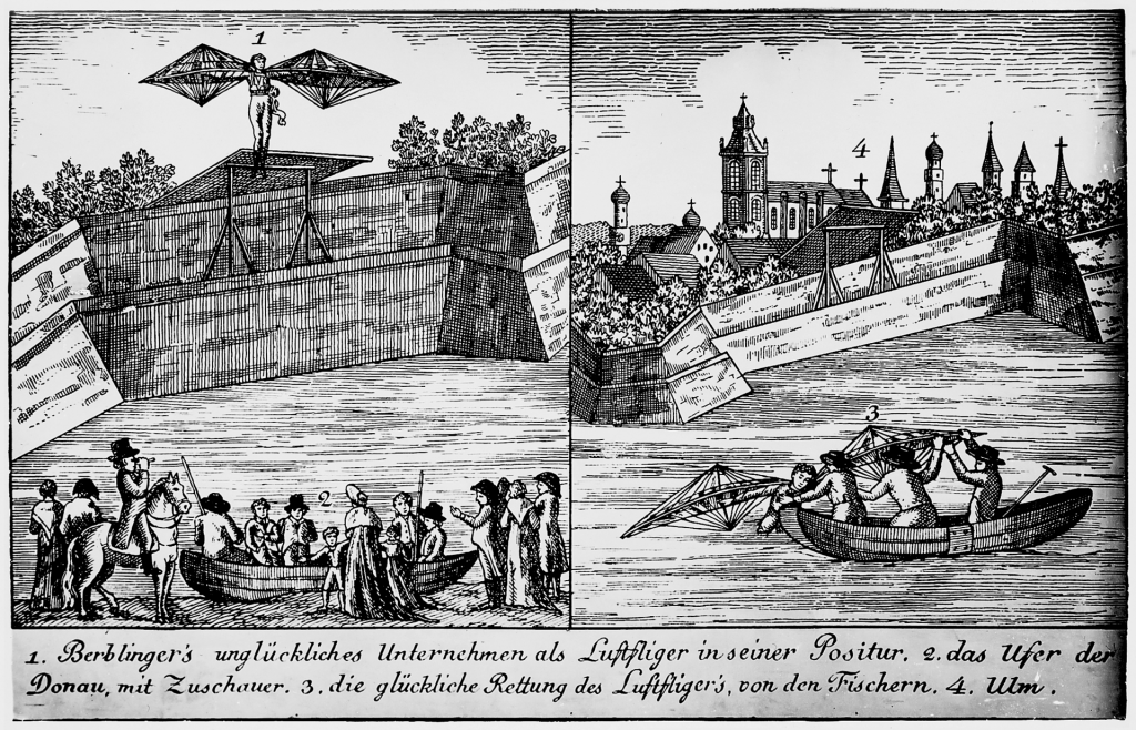 Berblingers Flugversuch © Wikimedia.Commons (gemeinfrei)
