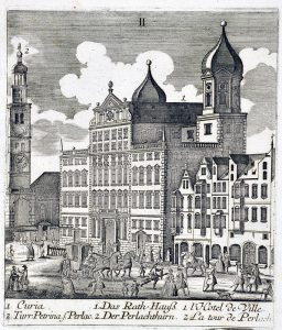 Augsburger Rathaus, Sitz des Magistrats, 1818 © Wikimedia.Commons (gemeinfrei)