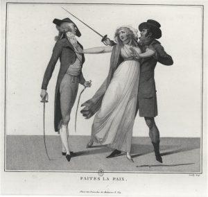 "Faites la Paix (""Friedenmachen"") – Frau in Gefahr © Bibliothèque Nationale Paris (gemeinfrei)"