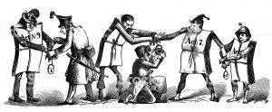Handschellen für Verbrechen. Karikatur 1867 © gemeinfrei