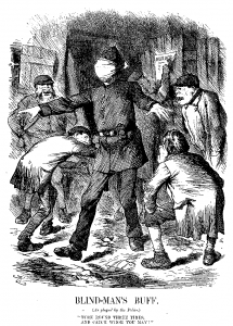 "Polizeiblindheit. Karikatur in ""The Punch"" 1888 © Wikimedia.Commons (gemeinfrei)"