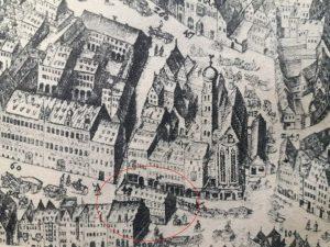 Augsburger Tanzhaus im Kilianplan (1626) © Susanne Wosnitzka (gemeinfreier Abdruck)