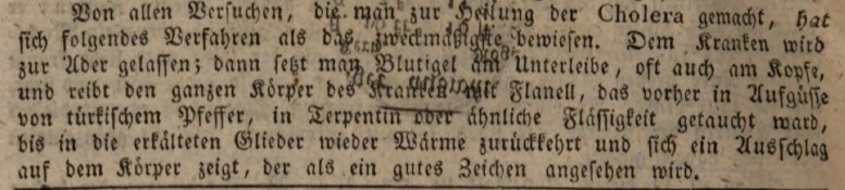 Cholera Behandlungstipps 1830, Augsburger Tagblatt. Screenshot © Susanne Wosnitzka