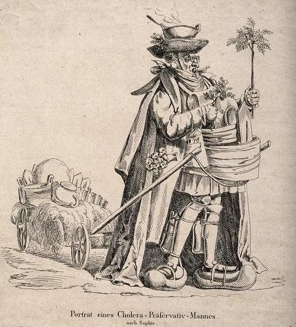 Karikatur eines Mannes, der sich vor der Cholera schützen will © Wellcome Collection, Attribution (CC BY 4.0)