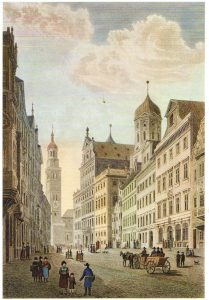 Maximilianstraße Augsburg. I. Owen nach Robert Batty, ca. 1835 © wikimedia.commons (gemeinfrei)