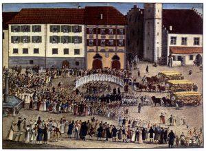 Gottlob Johann Edinger: Einzug der ersten Erntewagen nach der großen Hungersnot am 4. August 1817 in Ravensburg © Wikimedia.Commons (gemeinfrei)