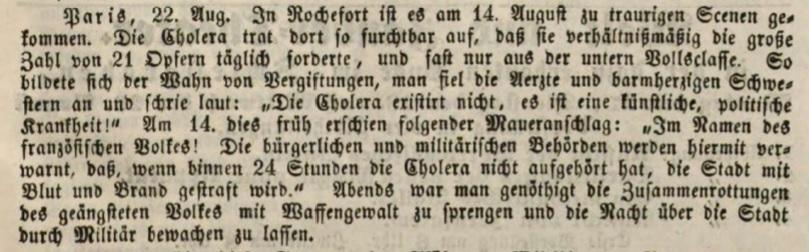 Verschwörungstheorie von Corona und der Cholera im Wortlaut, Augsburger Tagblatt 1849