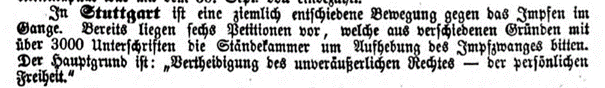 Impfgegner Stuttgart, Meldung 1862, Screenshot © Susanne Wosnitzka