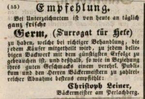 Werbung für Hefe. Augsburger Tagblatt 1847 © gemeinfrei