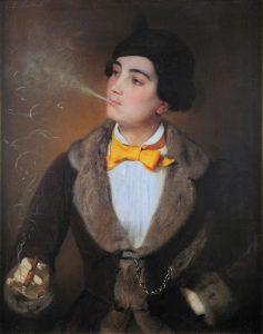 Louise Aston mit Zigarre, Gemälde von Johann Baptist Reiter © wikimedia.commons (gemeinfrei)