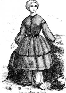 Historische britische Frauenbadebekleidung um 1850 © wikimedia.commons (gemeinfrei)