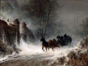 Hermann Kauffmann, Extrapost im Schneesturm, ca. 1855 © darkclassics.blogspot.com