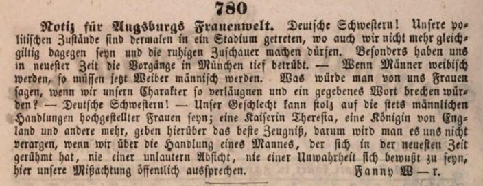 Aufruf zur Emanzipation Augsburger Frauen im Augsburger Tagblatt © gemeinfrei