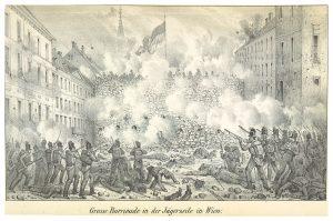 Große Barrikade in der Jägerzeile 1848 © wikimedia.commons (gemeinfrei)