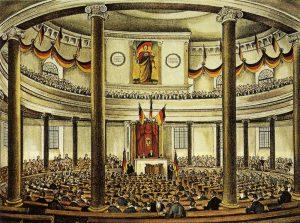 Die Frankfurter Nationalversammlung in der Paulskirche © wikimedia.commons (gemeinfrei)