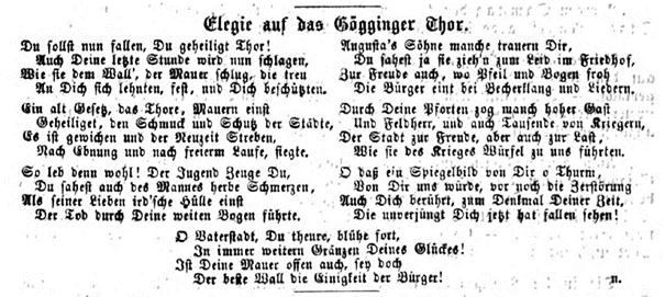 Elegie. Augsburger Tagblatt, No. 161. Freitag 13. Juni 1862, S. 1414. Screenshot © Susanne Wosnitzka