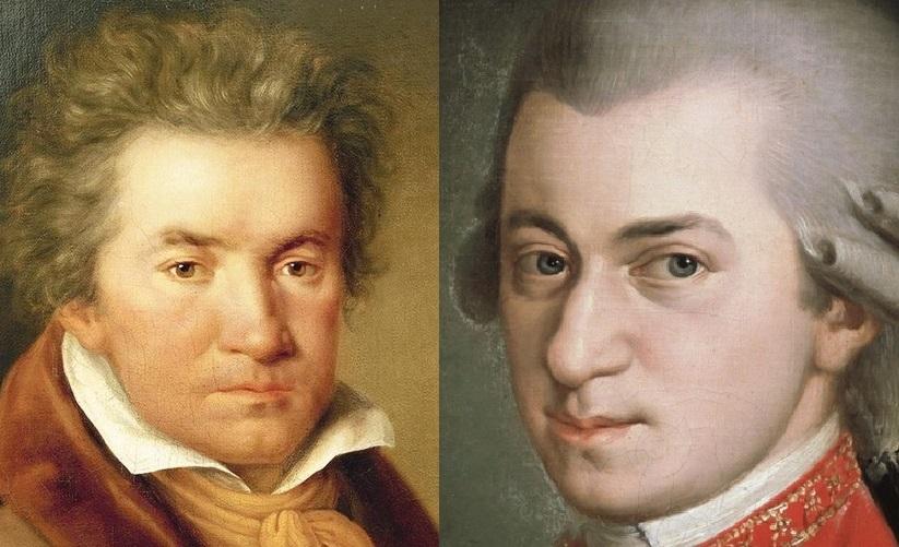 Oboenkonzert von Beethoven UND Mozart – heiße Spur in Augsburg © Collage mit Bildern der wikimedia.commons (gemeinfrei)